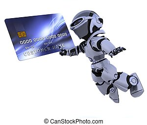 robot and credit card - 3D render of a robot and charge card