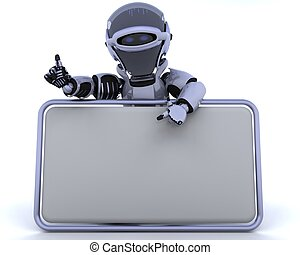 robot and blank sign - 3D render of a robot and blank sign