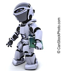 robot with document folder - 3D render of robot with...