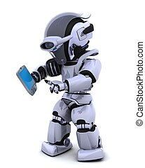 robot with palm pilot - 3D render of a robot character witha...