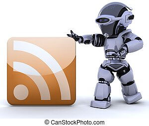 robot with RSS icon