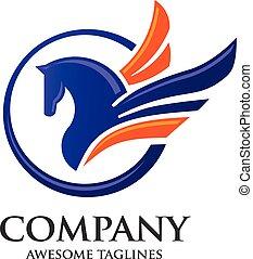 pegasus logo - creative Pegasus flying circle logo concept