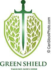 green shield - creative green  leaf and sword shield vector