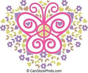 butterfly peace and love - butterfly, peace and love logo...