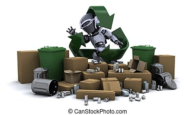 robot with trash - 3D render of a robot with trash