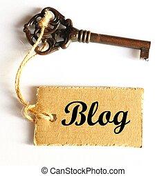 blog - internet or web blog concept with old grunge key