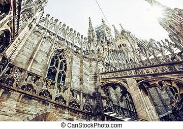 Detail of Milan cathedral - Duomo di Milano, Italy, cultural...