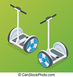 Two-wheeled Self-balancing electric scooter vector isometric illustrations. Intelligent and fashionable personal transportation tool with interactive function. Concise, fashionable, decent and elegant