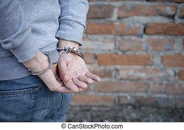 portrait of criminal man arrested