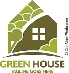 green house logo - creative abstract green house with tree...