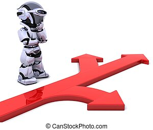 robot with arrow symbol - 3D render of a robot with arrow...