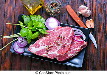 raw meat for kebab - raw meat with spice and salt, meat for...