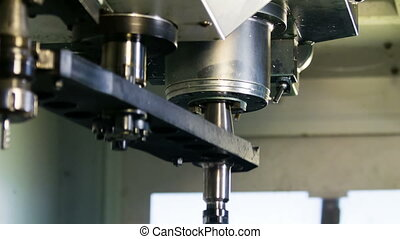 CNC machine change tool process closeup
