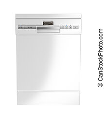 Front view of white dishwasher