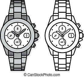 Two outline drawings of wristwatches
