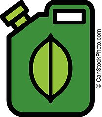 Colorful green fuel canister with a biofuel icon of an...