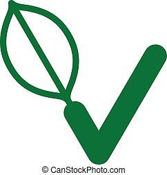 Green Vegan logo with a check mark - Green Vegan logo or...