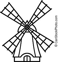 Cartoon windmill outline icon - Cartoon windmill icon with...
