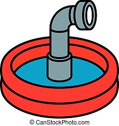 Wading pool with periscope - Circular red wading pool with...