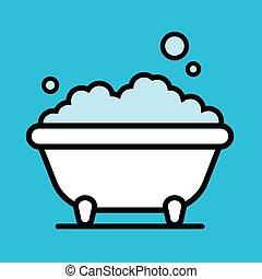 Cute cartoon bathtub with a bubble bath of frothy foam...