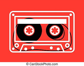 Clear cassette tape over red background - Single clear white...
