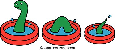 Fun bright red wading pool with Lochness monster - Fun...