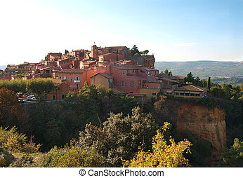 Roussillon France - hilltop village Roussillon,...