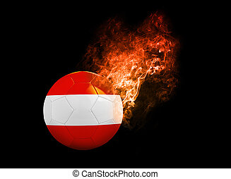 Flaming Football Ball on black background flag Austria -...