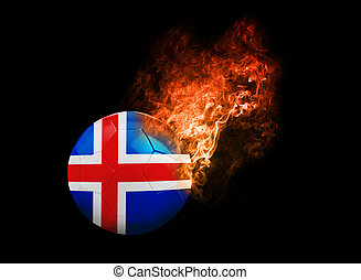 Flaming Football Ball on black background flag Iceland -...