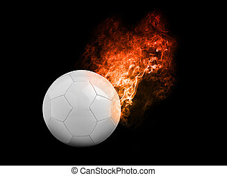 Flaming Football Ball on black background with team flags,...