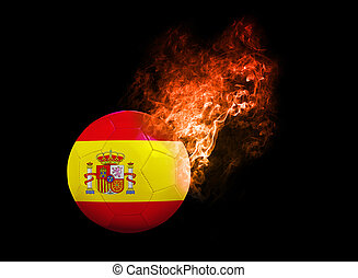 Flaming Football Ball on black background flag Spain -...