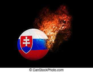 Flaming Football Ball on black background flag slovakia -...