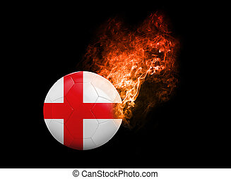 Flaming Football Ball on black background flag England -...