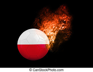 Flaming Football Ball on black background flag Poland -...