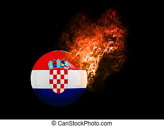 Flaming Football Ball on black background flag Croatia -...