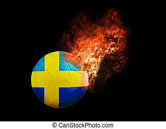 Flaming Football Ball on black background flag Sweden -...