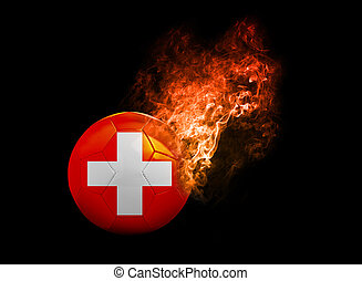 Flaming Football Ball on black background flag Swiss -...
