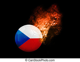 Flaming Football Ball on black background flag Czech...
