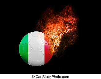 Flaming Football Ball on black background flag Italy -...
