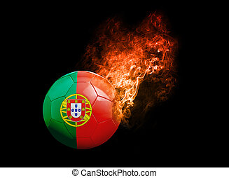 Flaming Football Ball on black background flag Portugal -...