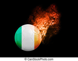Flaming Football Ball on black background flag Republic of...