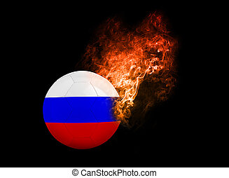 Flaming Football Ball on black background flag Russia -...