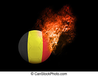 Flaming Football Ball on black background flag Belgium -...