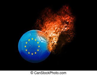 Flaming Football Ball on black background flag Europe -...