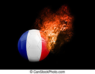Flaming Football Ball on black background flag France -...
