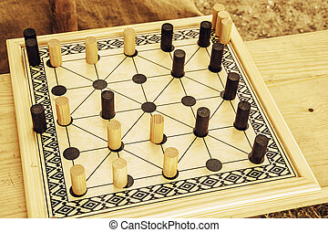 Wooden brain board game Leisure game Alquerque board game