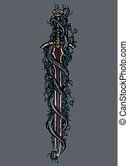 Dark elfin sword emblem - Illustration murky tree's roots...