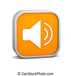 Orange Enable Audio Sign - Orange enable audio sign on a...