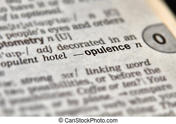 Opulence Word Definition Text in Dictionary Page