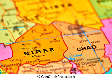 Niger on the Map - Niger Country in Africa on the World Map